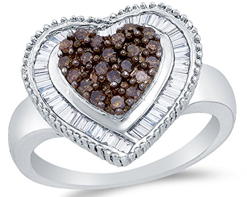 Size 8 - 925 Sterling Silver Chocolate Brown & White Round & Baguette Diamond Engagement Ring - Channel Set Heart Center Setting Shape (.78 cttw.)