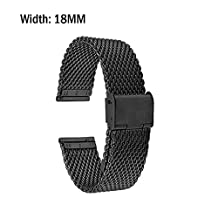 Asus Zenwatch 2 Band, Lucco 18mm Stainless Steel Metal Watch Band Strap for Asus Zenwatch 2 W1502Q 45mm, Huawei Watch, Silver