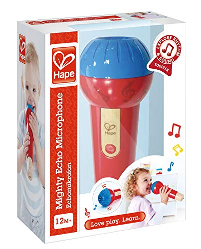 51u2tO7a%2BOL - Hape Mighty Echo Microphone | Battery-Free Voice Amplifying Microphone Toy for Kids 1 Year & Up