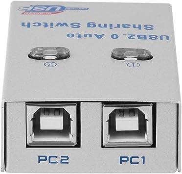 Interruptor de control de temperatura Interruptor de uso compartido USB, PC Computadora 2 puertos Interruptor de uso compartido de impresora automática Caja de concentrador Escáner de impresora automá: Amazon.es: Hogar