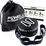 Foxelli Hammock Straps XL – Camping Hammock Tree Straps Set with Carabiners & Bag, 2000 LBS No-Stretch Heavy Duty Straps for Hammock, 40 + 2 Loops, Adjustable, Lightweight, Portable & Easy to Set Up