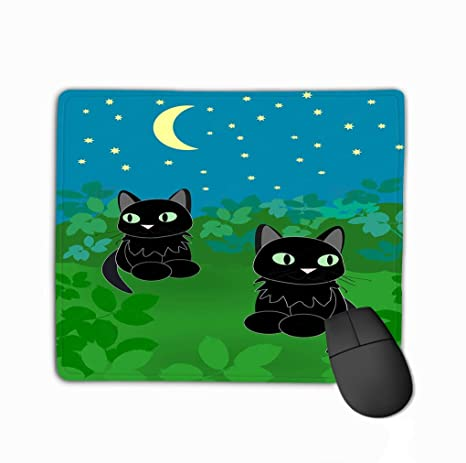 Mouse Pad Two Cats Night Black Sitting Together Under Starry