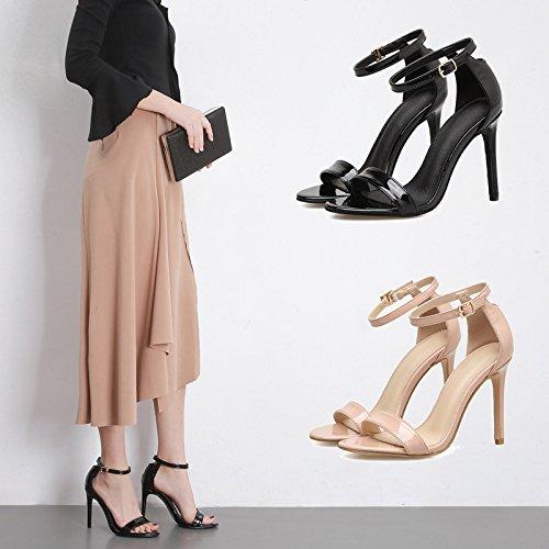 estate ad scarpe il apricot nero sandali ammenda sexy alta scarpe le femmina con ZHZNVX con con asolato nuovo In 50gUxX