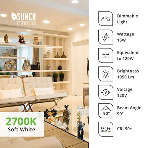 Sunco Lighting 24 Pack 5 Inch / 6 Inch Flush Mount Disk LED Downlight, 15W=100W, 2700K Soft White, 1050LM, Dimmable, Hardwire 4/6'' Junction Box, Recessed Retrofit Ceiling Fixture by Sunco Lighting (Image #7)