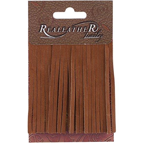 Brown Leather Fringe - Realeather Crafts SF0203-0271 Deerskin Fringe, 2 by 3-Inch, Saddle Tan, 2-Pack