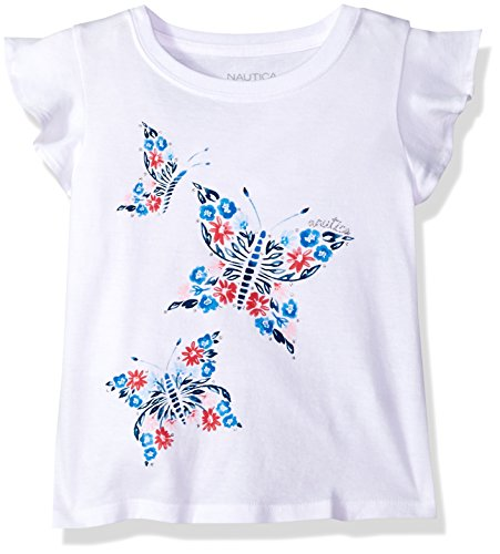 Large Butterfly Graphic (Nautica Big Girls' Short Sleeve Graphic Tee, Butterfly White, Large (12/14))