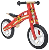 BIKESTAR Original Safety Wooden Lightweight Kids First Balance Running Bike with air tires for age 3 year old boys and girls | 12 Inch Edition | Firefighter Red