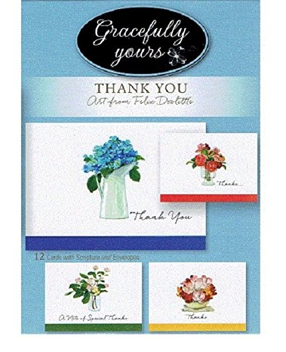 """Gracefully Yours 130 Bless Your Heart - Thank You Greeting Cards featuring Felix Doolittle, 12, 4 designs/3 each with Scripture Message, 6 5/8"""" x 4 3/4"""""""