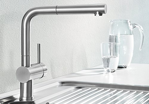blanco linus s vario kitchen tap metallic surface chrome high
