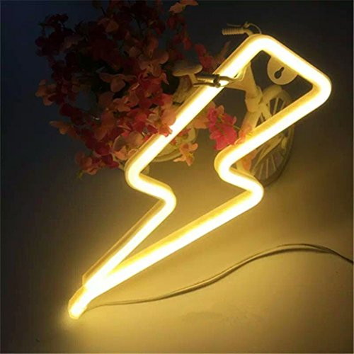 Neon Light,LED Lightning Sign Shaped Decor Light,Wall Decor for Chistmas,Birthday party,Kids Room, Living Room, Wedding Party Decor (Warm White)