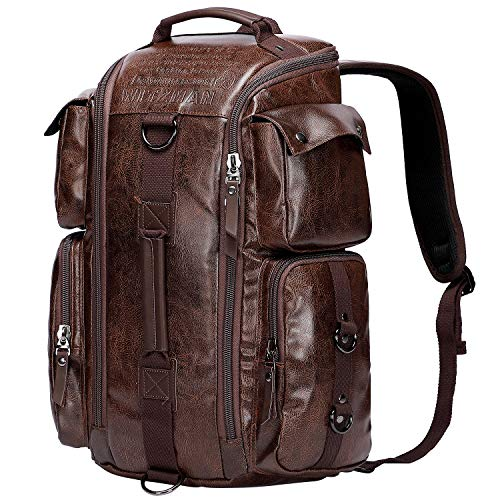 WITZMAN Outdoor Travel Duffels Backpack School Casual Daypack Canvas Rucksack (A6662, Nut Brown) (Best Mens Carry On Duffel)