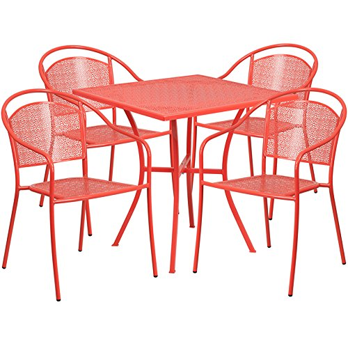 Westbury 5-pcs Table Set Square 28'' Coral w/4 Round Back Chairs by iHome Studio