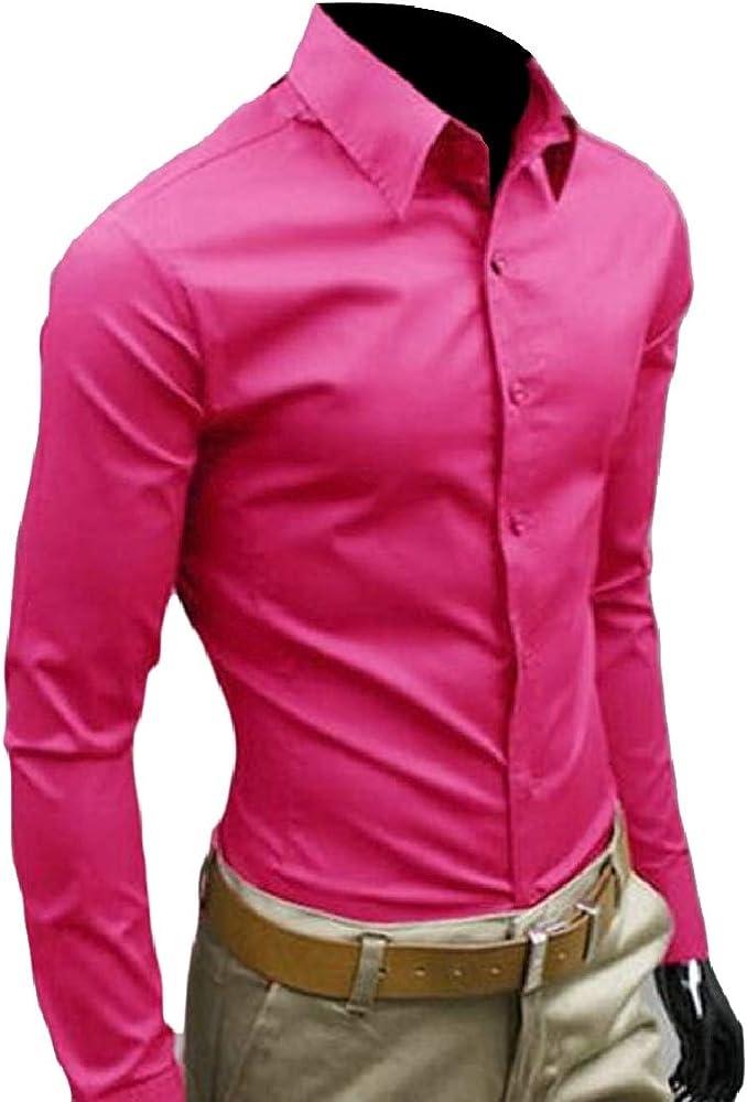 security - Camisa Casual - Manga Larga - para Hombre Rojo Rosa Roja XS: Amazon.es: Ropa y accesorios
