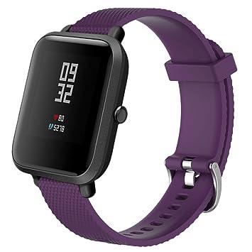 Zolimx para Xiaomi Huami Amazfit Bip Reloj Reemplazo Suave Silicagel Deportes Banda Correa (Púrpura)