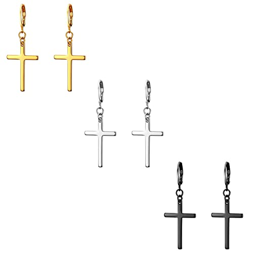 Flongo Pendientes de cruz largo pendientes de aros pequeños, Pendientes de acero inoxidable dorado plateado negro, Pendientes de mujer hombre estilo ...