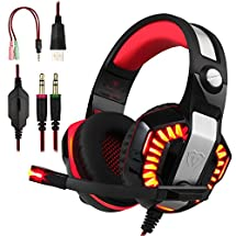 BlueFire Professional PS4 Gaming Headset 3.5mm LED Light Game Bass Xbox One Headphones Stereo Noise Isolation Over-ear Headset with Mic for PS4, Xbox one, Laptop Computer and Smart Phone (Red)