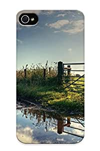 Fashionable Style Case Cover Skin Series For Iphone 4/4s- Fence Near The Muddy Road