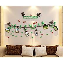 3D Large Family Tree Photo Frames Wall Decal - The Sweetest Highlight of Your Home and Family (34(H) x 82(W) inches, Black Green Red)