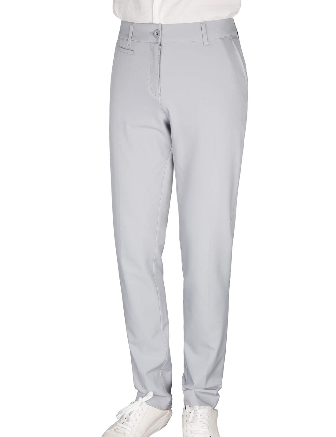 Women's Golf Pants Stretch Straight Lightweight Breathable Twill Work Chino Ladies Pants Size 8 Grey by Bakery