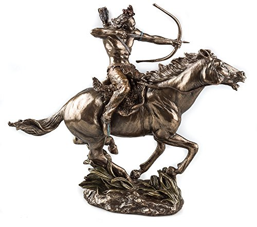 Mohican Warrior Statue on Horseback Shooting Arrow Sculpture Figurine