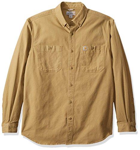 Carhartt Men's Rugged Flex Rigby Long Sleeve Work Shirt, Dark Khaki, Small