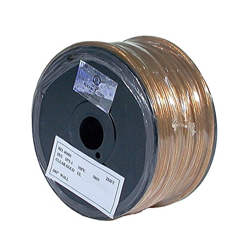B&P Lamp Clear Gold, 250 Ft. Spool, Plastic 18/2 Lamp Cord, Spt-2 Size