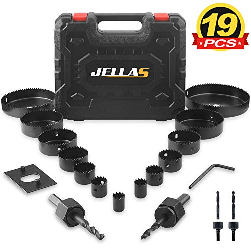 Hole Saw Set, Jellas 19PCS Hole Saw Kit with 13Pcs Saw Blades, Max Size 6(152mm) and Min Size 3/4 (19mm), 2 Mandrels, 1 Installation Plate and 1 Hex Key, Ideal for Soft Wood, PVC Board