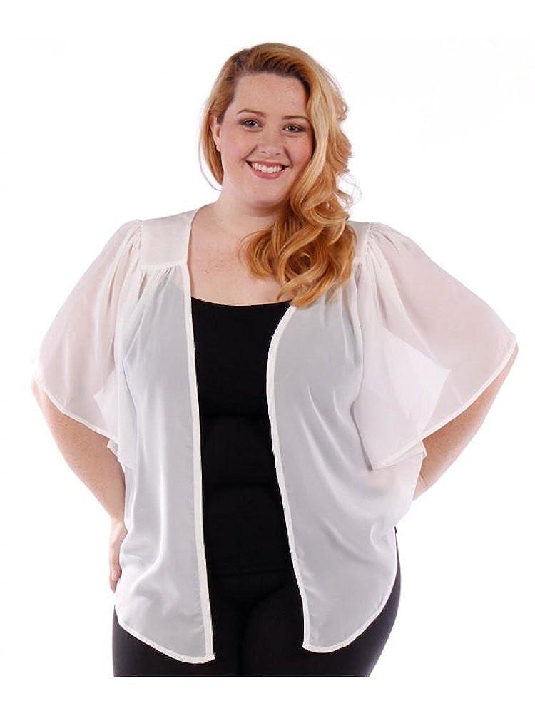 WearOrGoBare Women's Plus Size Cascading Chiffon Bolero Cardigan Shrug Top