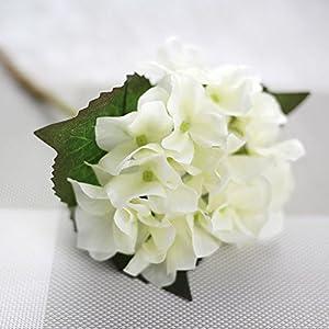 YSBER 3 Big Heads Artificial Hydrangea Silk Fake Flowers Bunch Bouquet Home Hotel Wedding Party Centerpieces Garden Floral Decor(White) 2