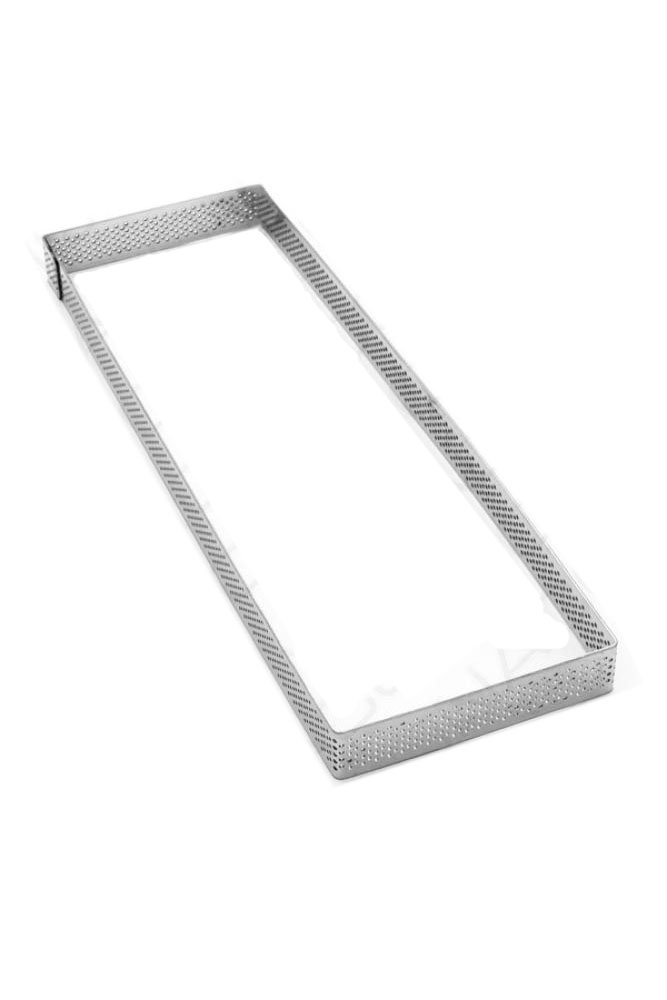 Pavoni Microperforated Stainless Steel Rectangular Tart Ring Height: 3/4'', 3.6''x11.6''