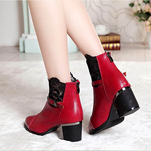 Women Lace Boots Boots Plaid Comfortable Shoes Red Metal Ladies Zip Chunky Hatop Buckle Women rrxpq46
