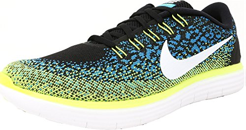 NIKE Men's Free Rn Distance Black/White-Blue Lagoon-Volt Ankle-High Fabric Running Shoe - 10.5M tumblr sale online fvhw29n5