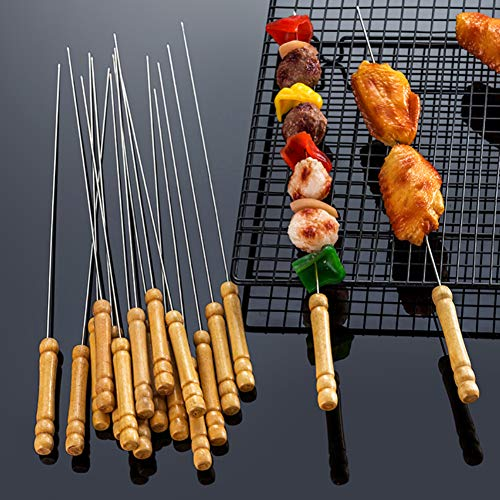 HAKSEN 12 PCS Barbecue Skewers with Wood Handle Marshmallow Roasting Sticks Meat Hot Dog Fork Best for BBQ Camping Cookware Campfire Grill Cooking, Stainless Steel,12 Inches(Including Handle)