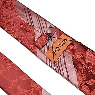 GuanBen Corbata de Hombre, Ancho 8,5 cm Salmón Rosado de Seda ...