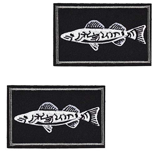 2pcs Set Tactical Fishing Velcro Patches (Walleye, Black)