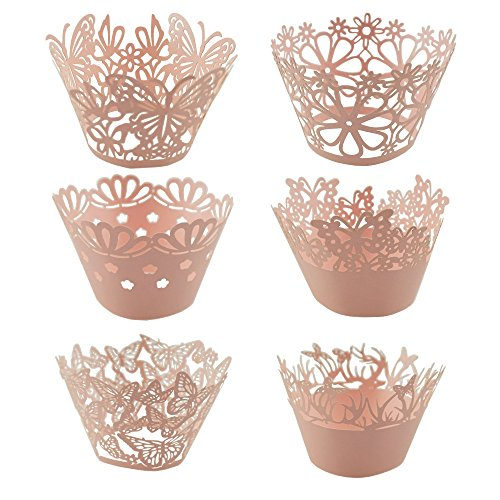Bilipala Pink Butterfly and Flower Lace Cupcake Wrappers Liners, Pack of 60