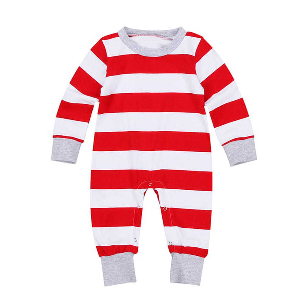 Mlide Parent-Child Xmas Red Sets Pajamas Casual Christmas Long-Sleeved Striped Sleepwear