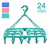 B.SHINE Laundry Hanger Drying Rack - Foldable Clip and Drip Hanger with 24 Pins, Clothes Drying Rack, Sock Hanger