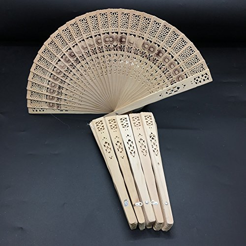 HUELE 6pcs Chinese Wooden Personal Hand Held Folding Fans With flowers for Wedding Decoration, Birthdays, Home - Fan Scented Sandalwood