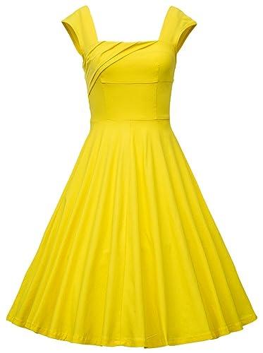 MUXXN Women's 1950s Retro Vintage Cap Sleeve Coaktail Swing Dress