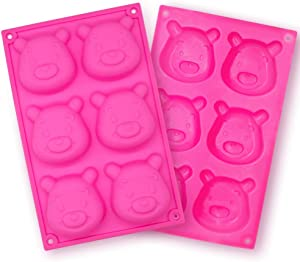 Meiyouju 2 PCS Bear Face Cookie Mold ,Bear Silicone Molds For Fondant ,Silicone Bakeware Molds Nonstick & Quick Release Baking Pans for bread,Chocolate,Candy,Biscuit Decor, Polymer Clay, Resin Mold