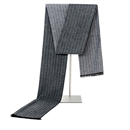 Mens Classic Long Fringe Striped Scarf Fashion Gentleman Business Scarves (Grey) by HiRosy