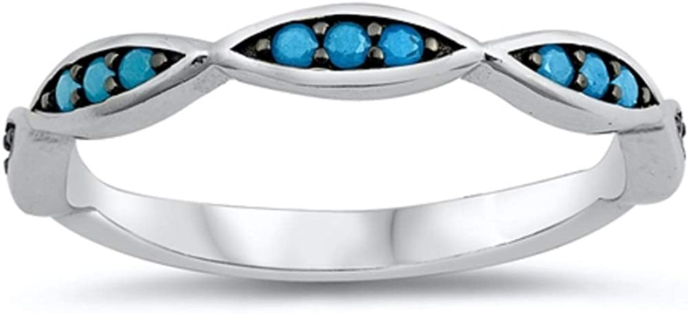 Buy For Less Synthetic Turquoise Infinity Wavy Ring Rhodium Plated 925 Sterling Silver