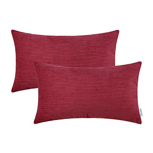 CaliTime Pack of 2 Cozy Bolster Pillow Covers Cases for Couch Bed Sofa, Ultra Soft Corduroy Striped Both Sides, 12 X 20 Inches, Dark Red Boudoir Pillow Cover