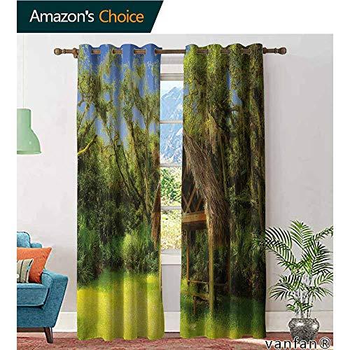 (LQQBSTORAGE Tiki Bar,Room Darkening Wide Curtains,Tiki Hut in Dreamy Fantasy Forest Tropical Island Wildlife Greenery Art,Light Blocking Drapes with Liner,Green Blue Brown)