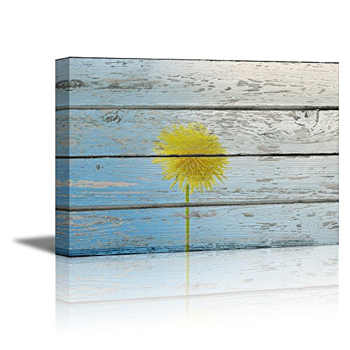 Retro Style Flower on Sky Blue Vintage Wood Background Rustic ation