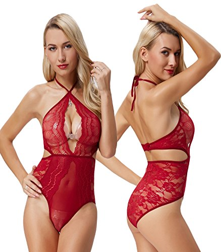Zexxxy Women Sexy One Piece Halter Lingeries Lace Cross Straps Babydoll