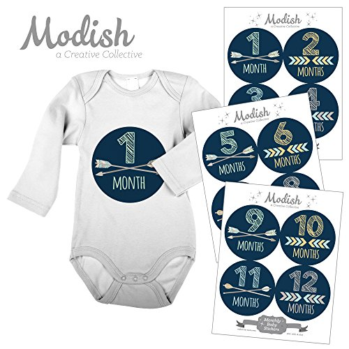 Modish Labels, 12 Monthly Baby Stickers, Tribal Arrows, Chevron, Navy Blue, Baby Shower Gift, Baby Book Keepsake