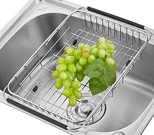 Adjustable Large Over Sink Dish Rack Dish Drying Rack, Stainless Steel Dish Drainer Functional Kitchen Sink Organizer for Drying Vegetable and Fruit and Silverware- Rustproof by KESO HOME