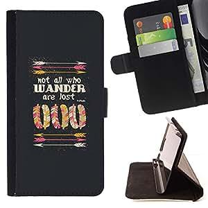 For Samsung Galaxy A5 ( A5000 ) 2014 Version Case , Cita profunda indio nativo motivación- la tarjeta de Crédito Slots PU Funda de cuero Monedero caso cubierta de piel